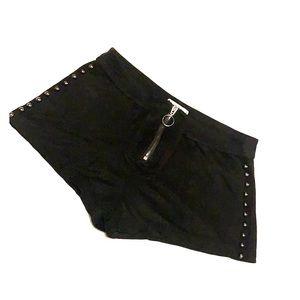 Black Velvet Studded Quarter Zipper Shorts Size 25